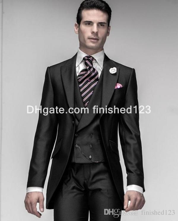 Shiny Black One Button Groom Tuxedos Peak Lapel Mens Blazer Wedding Clothing Prom Suit Jacket+Pants+Vest G969