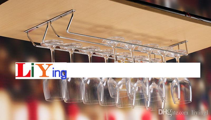 stainless steel Wine Glass Wall Rack Holders Hanger Bar Tools hanging glass shelves silver 50-55cm long 1-3 row racks for wine cabinet screw