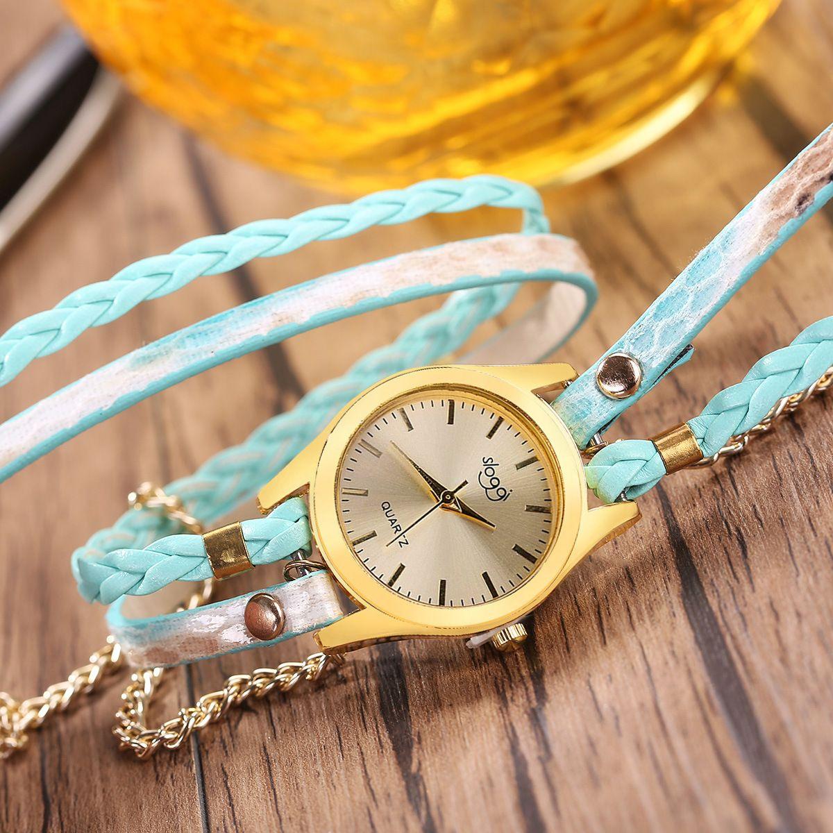 New Simple snake Design Handmade Weave watch fashion Women Leather Bracelet Quartz Watch Multicolor Long Straps Dress Wrist Watches