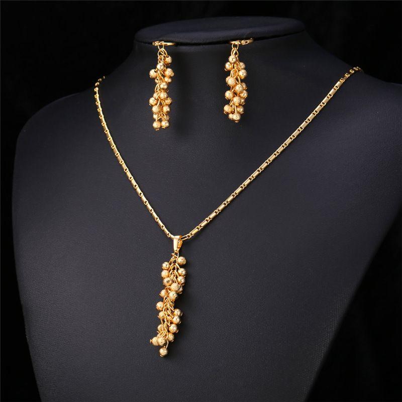 Cute Balls Long Pendant Necklace Earrings Set 18K Gold/Platinum Plate Gift For Women Summer Jewelry Set MGC PE976