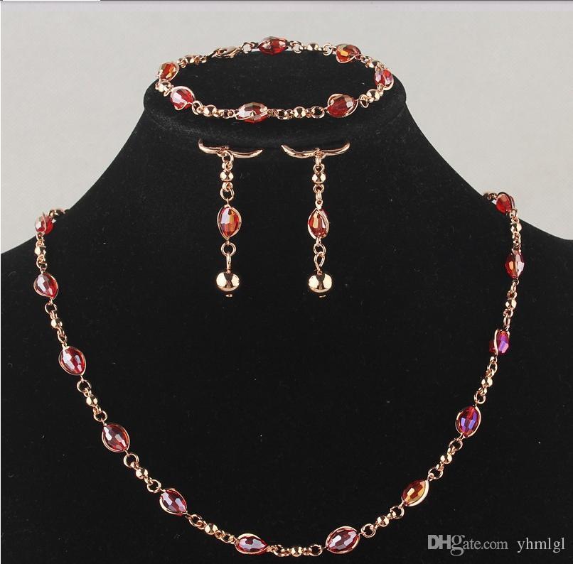 Бесплатная доставка мода женская 18K золото заполнено красное ожерелье браслет серьги свадьба / невесты ювелирные изделия наборы подарка