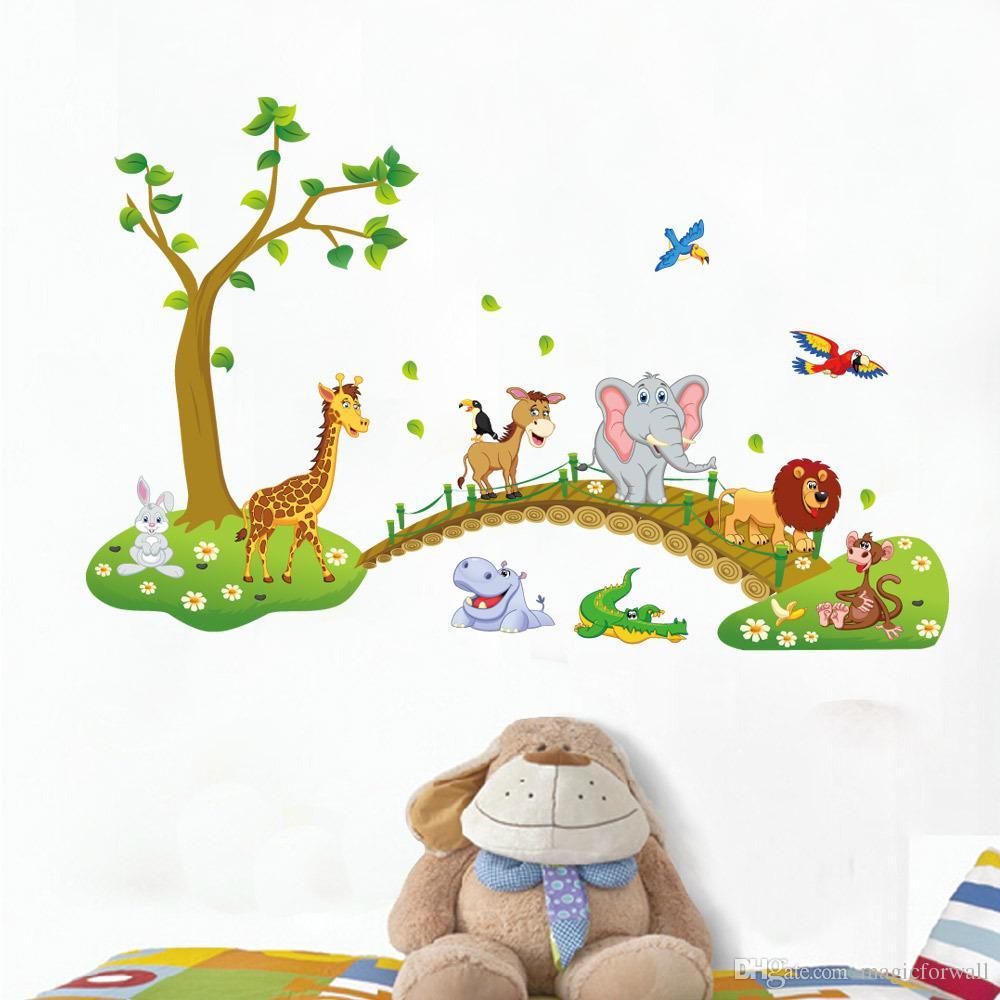 Adesivo cameretta della camera dei bambini Adesivo decalcomanie - Adesivo parete della giungla di animali della giungla