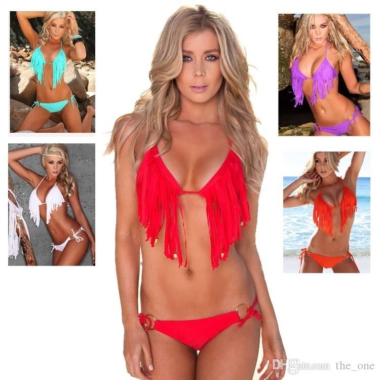 471580c859 Hot Sale Low Waist Padded Tassel Bikini Halter Push Up Women ...