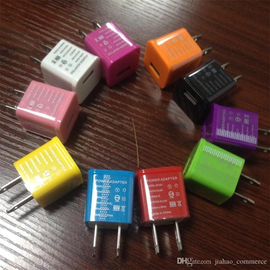 Renkli Taşınabilir USB Ev Güç Adaptörü ABD Akıllı Telefon Için Fiş Duvar Şarj, Cep telefonu, Android telefon 100 adet / grup