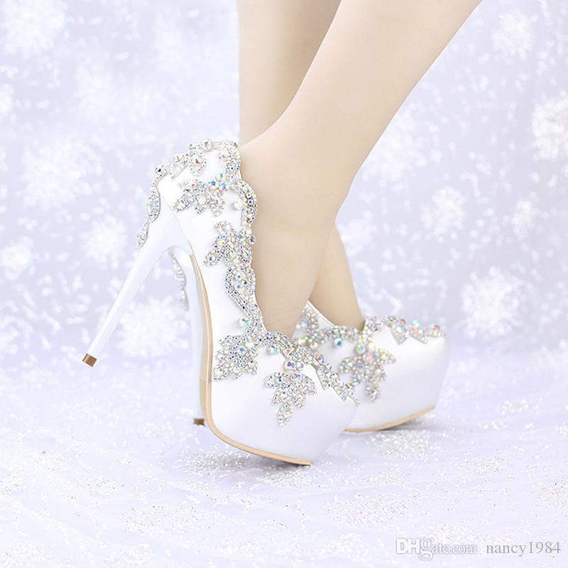 Satin Wedding High Heels AB Color Crystal Round Toe Bridal Dress Platform Shoes Banquet Pageant Party Pumps Single Shoes
