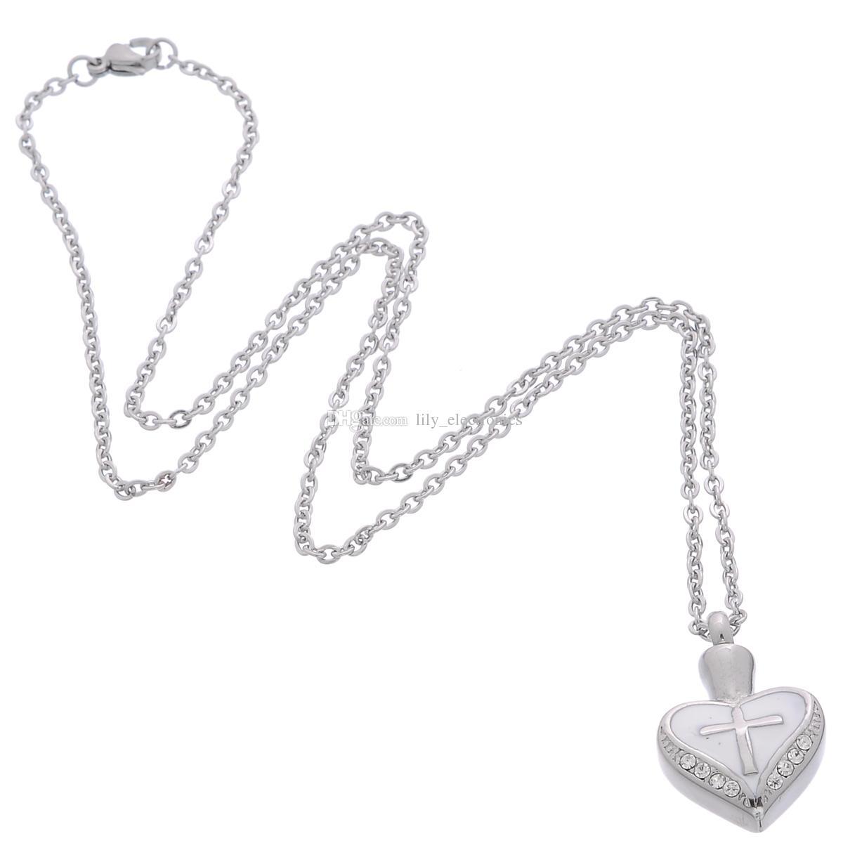 Lily cremación de acero inoxidable a prueba de agua Retro Cruz corazón Urna colgante, collar Memorial Ash Keepsake con un bolso de regalo