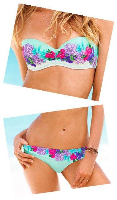 FNew Arrival Off Shoulder Floral Top Half Print Blue Bikini Set