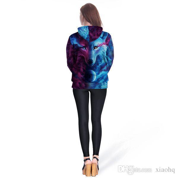Hot Sale Brand Wolf Hoodies Men/Women Space Galaxy 3D Sweatshirts Pullover Novelty Street Wear Hooded Jacket