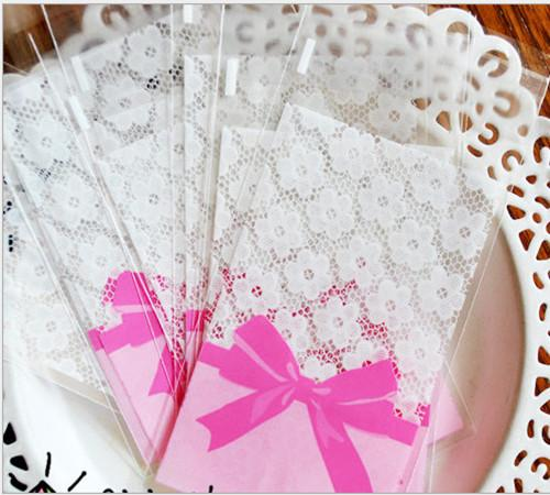 "7*10cm 2.8*3.9"" Pink Lace Bowknot Cookies Packaging Bag Self Adhesive Plastic Packing Bags Pouches for Biscuit Cakes Baking"