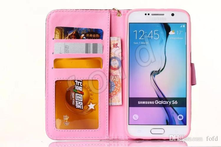 Koyun Fotoğraf Çerçevesi Deri Kılıf Lüks Elmas Bling Flip Cüzdan Kredi Kartı Tutucu Kapak Iphone Samsung Galaxy S6 S5 S4 50 adet up