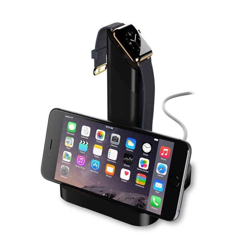 2 in 1 charging stand cradle charging station desktop charger holder for apple watch for iphone black apple watch stand iwatch holder iwatch charging - Iphone Charging Station