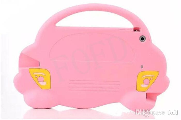 coche de dibujos animados caso de asas del silicón de los niños con la tablilla de asa de transporte caso de la cubierta linda inteligente Bolsa prueba de golpes para niños Mini iPad MINI3 mini2