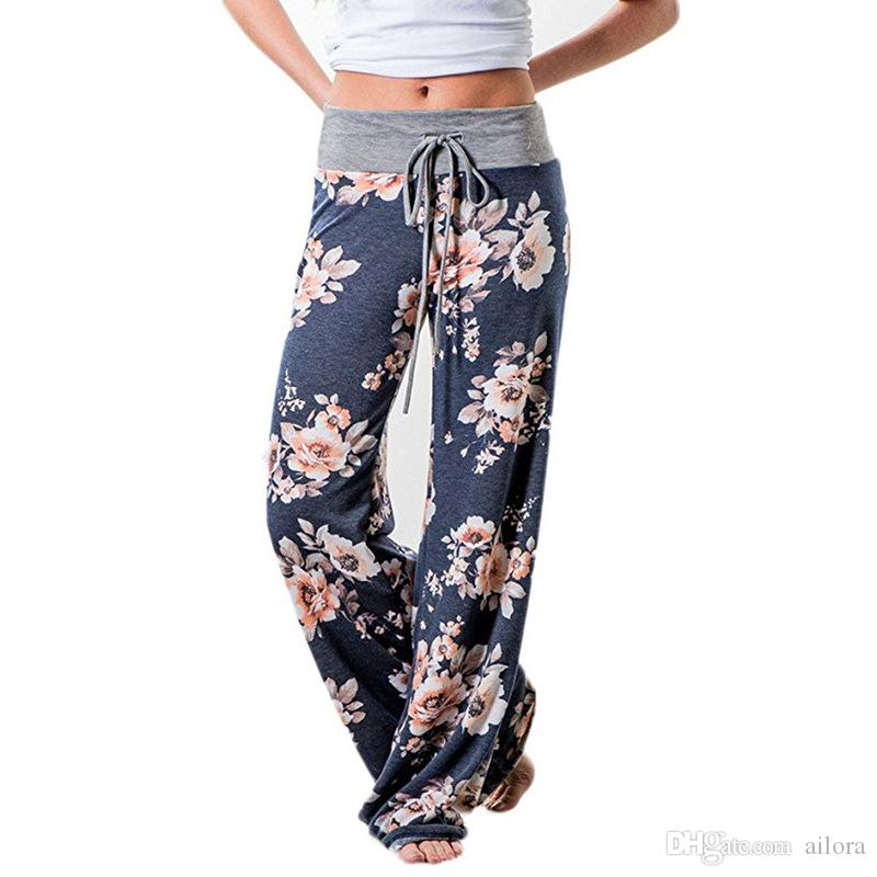 Compre Las Mujeres Pantalones De Impresión De Flores De Otoño 2017  Pantalones De Pierna Ancha Con Cordón Pantalones Flojos Rectos Pantalones  Largos De Mujer ... 2168c6c7db2