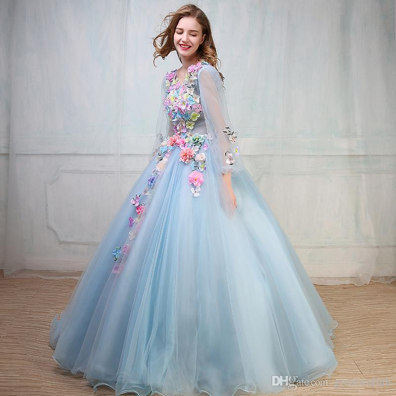 100%real Flower Light Blue/Light Purple Ball Gown Medieval Dress ...