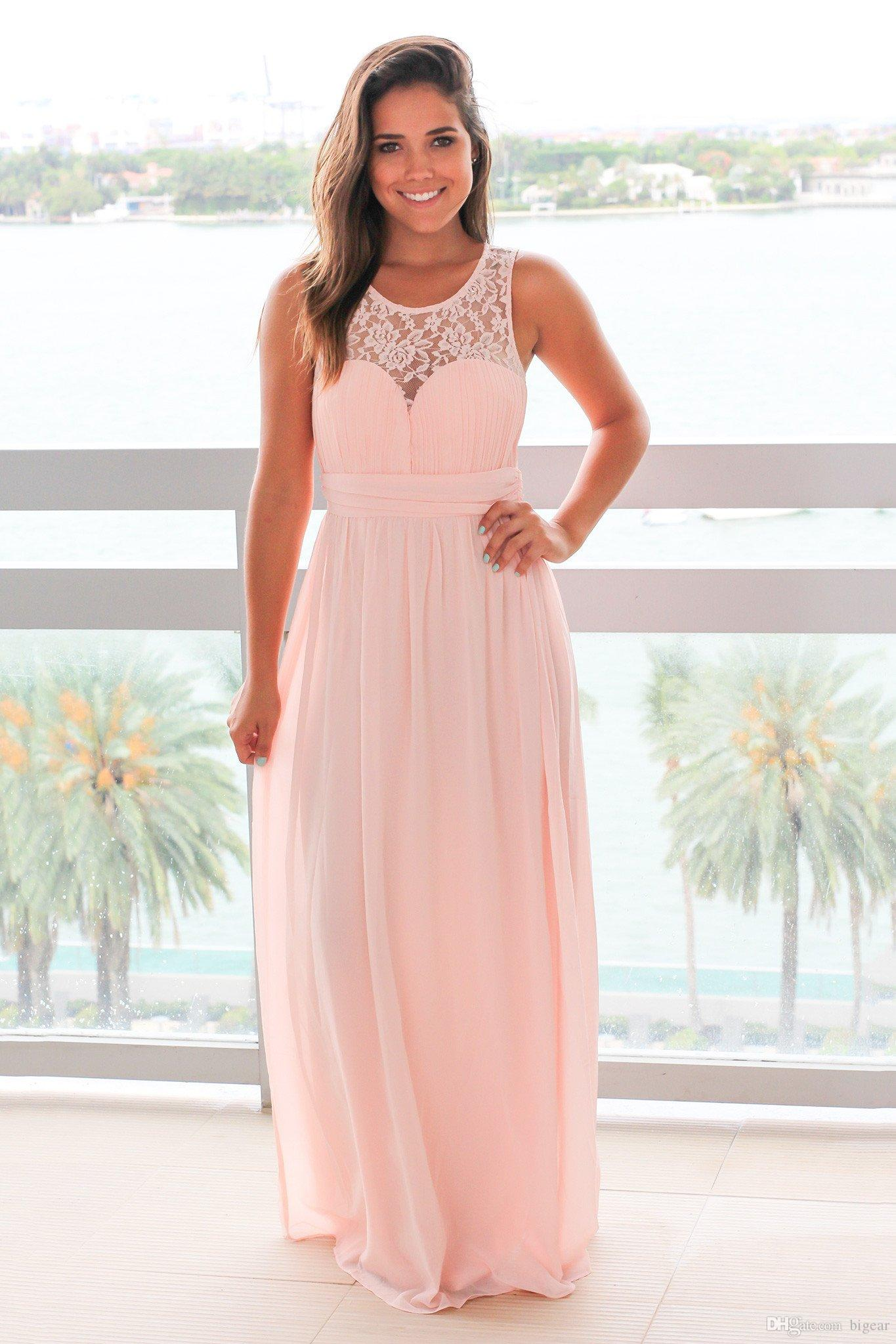 Scoop Neckline Long Pink Bridesmaid Dress with Pleated Top ...