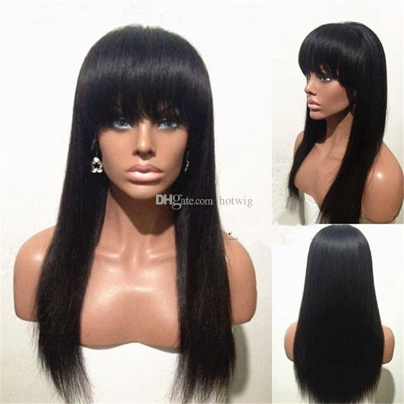 Parrucca piena del merletto dei capelli umani di 100% parrucca anteriore del merletto dei capelli di 10-24 pollici lunghi dei capelli con la bella frangia la protezione svizzera del merletto della donna nera