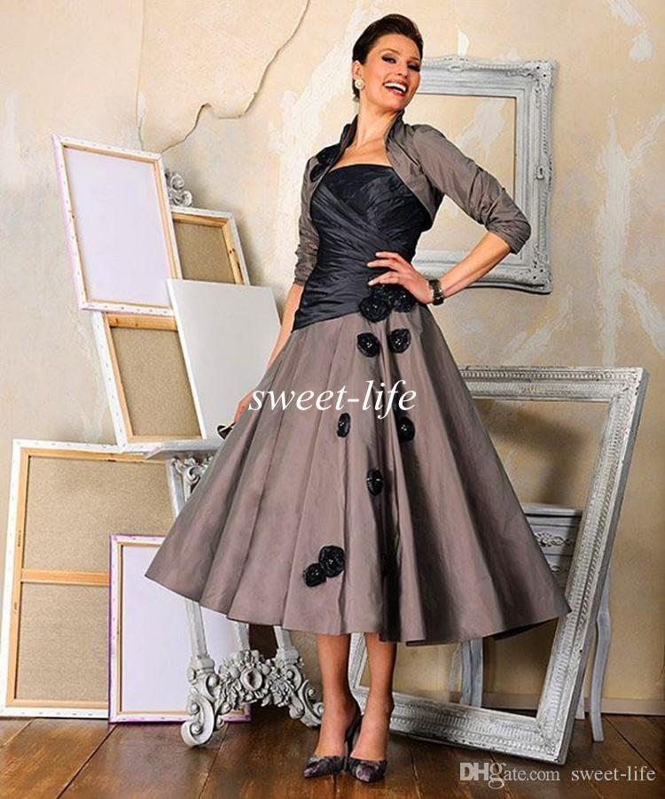 Vintage Tea Length Mother of the Bride Dresses 2019 with Jacket Long Sleeve A-Line Strapless Flowers Mother Dress Women Formal Evening Gowns