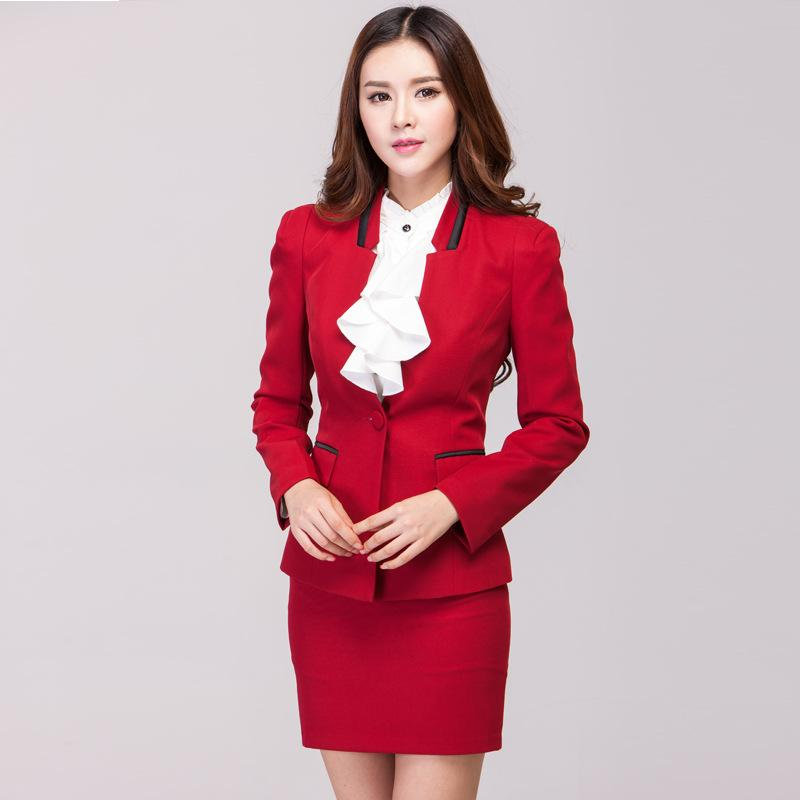 2018 Red Set Ladies Office Skirt Suit New 2015 Spring Business ...