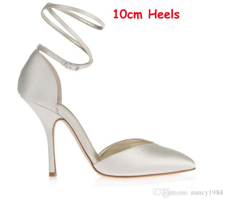 Women Ivory Satin High Heels Bridal Shoes Custom Handmade Elegant Evening Party Shoes Pointed Toe Ankle Straps Prom Party Shoes