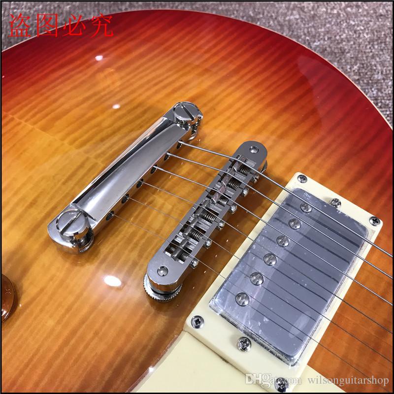 Chitarra elettrica monopezzo con corpo intero, chitarra Tune-o-Matic bridge guitarra Tiger Flame
