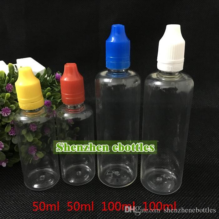 Groothandel flessen 50 ml e vloeibare lege fles huisdier plastic druppelaar flessen met lange dunne naald tips tamper duidelijke afdichting en kinderproof caps