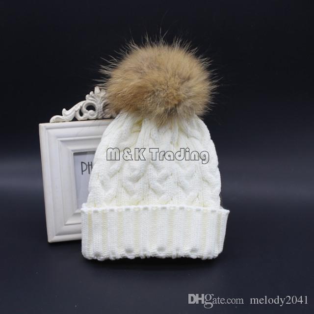 2017 New Fashion Soft Knit Caps Winter Warm Crochet Beanie Hat With Real Mink Fur Big Pompon Balls