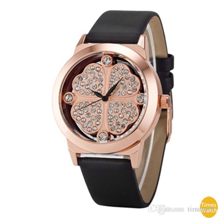 Новое прибытие женщины мода Dress Марка Кварцевые наручные часы дамы повседневная плоские марлевые золото lleather роскошные часы