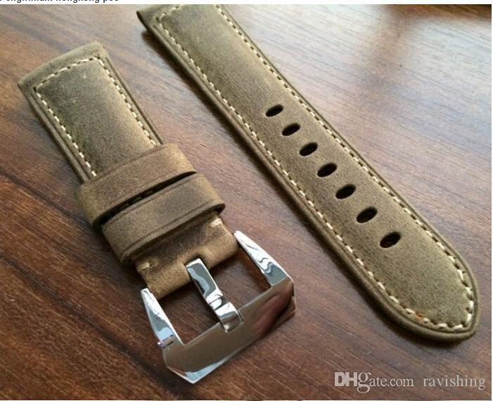 Großhandels-Brown Crazy Horse 24MM / 26MM Kalbsleder-Bügel, für Retro Uhrenarmbänder, Uhrenarmbänder der klassischen Männer