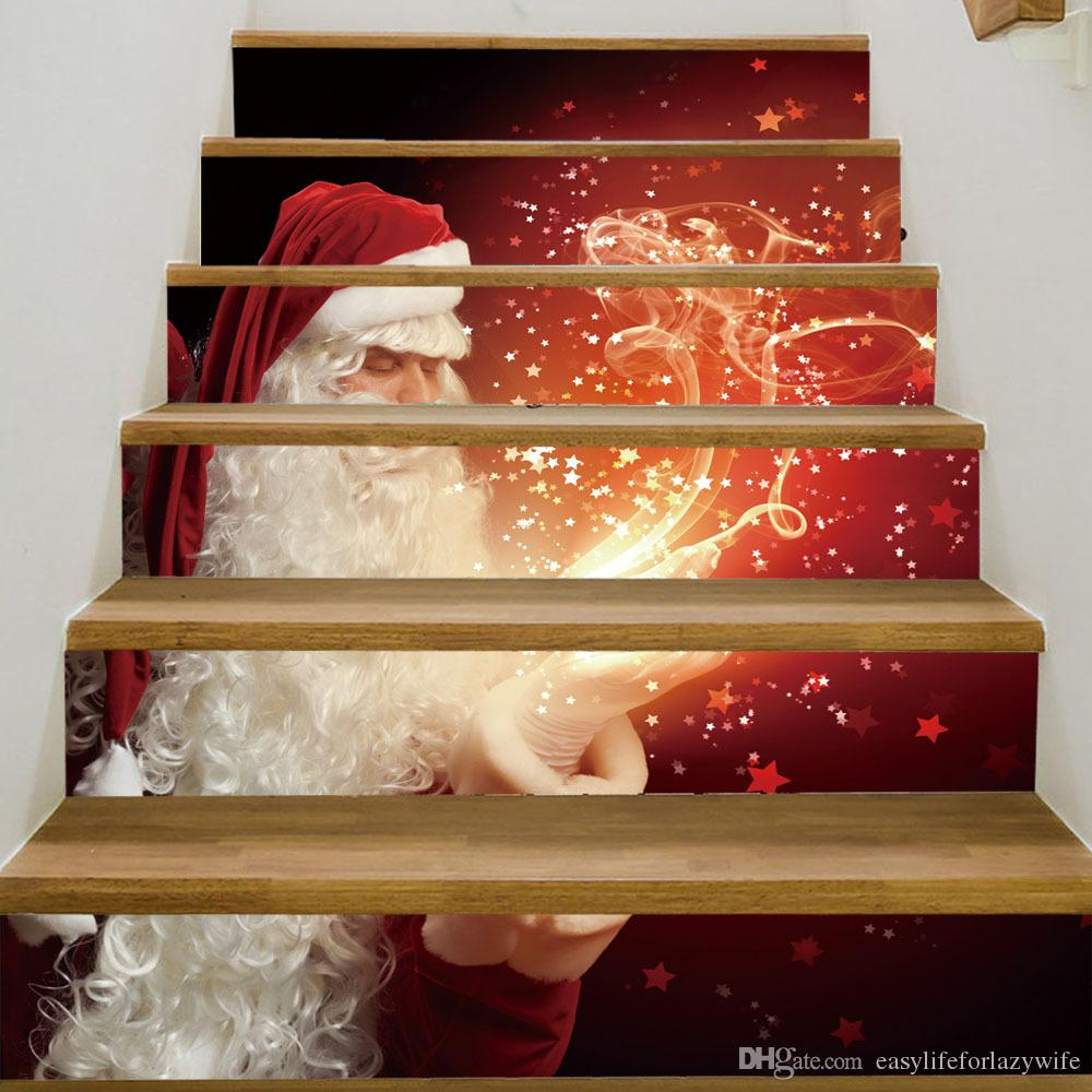 Le scale di Natale che attaccano il rinnovamento di DIY autoadesivo creativo 3D autoadesivo adesivo di Babbo Natale fuochi d'artificio