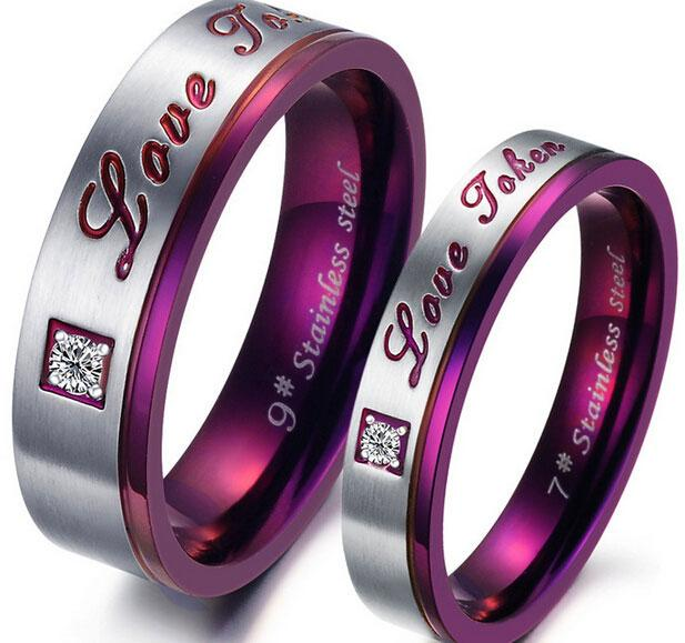 Stainless Steel Wedding Rings Love Jewelry Couple Tungsten Carbide Ring 18k Gold Plated The Lord of the Rings Wedding Band Purple color