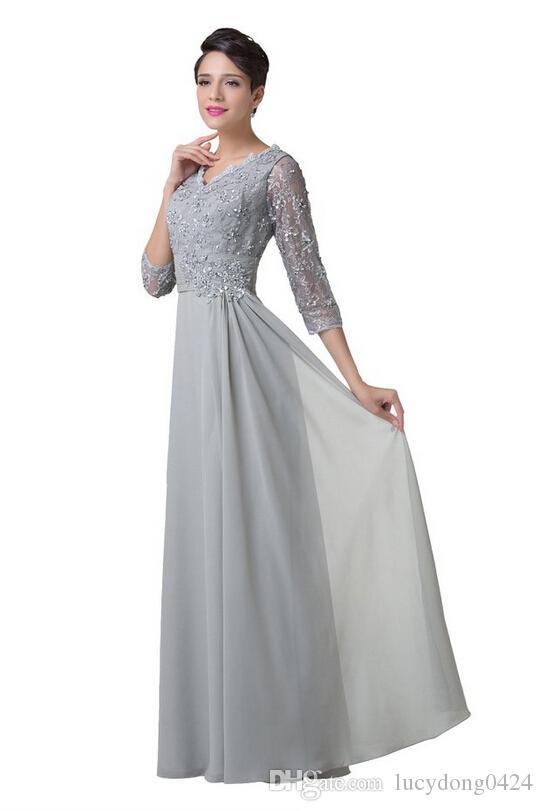 Женский V-образным вырезом с кружевами в стиле ампир с длинным выпускным платьем Бисероплетение 3/4 с длинными рукавами платья для мам