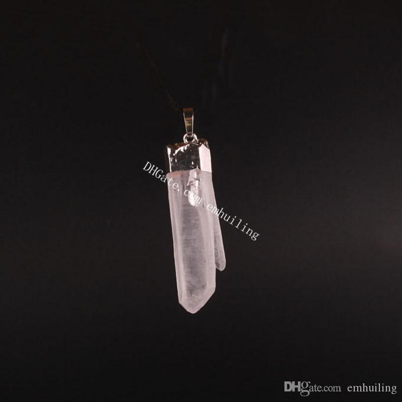 White Rough Quartz Point Pendant Irregular Silver Plated Reiki Chakra Healing Clear Crystal Gemstone Natural Mineral Drusy Rock Pendant Bead
