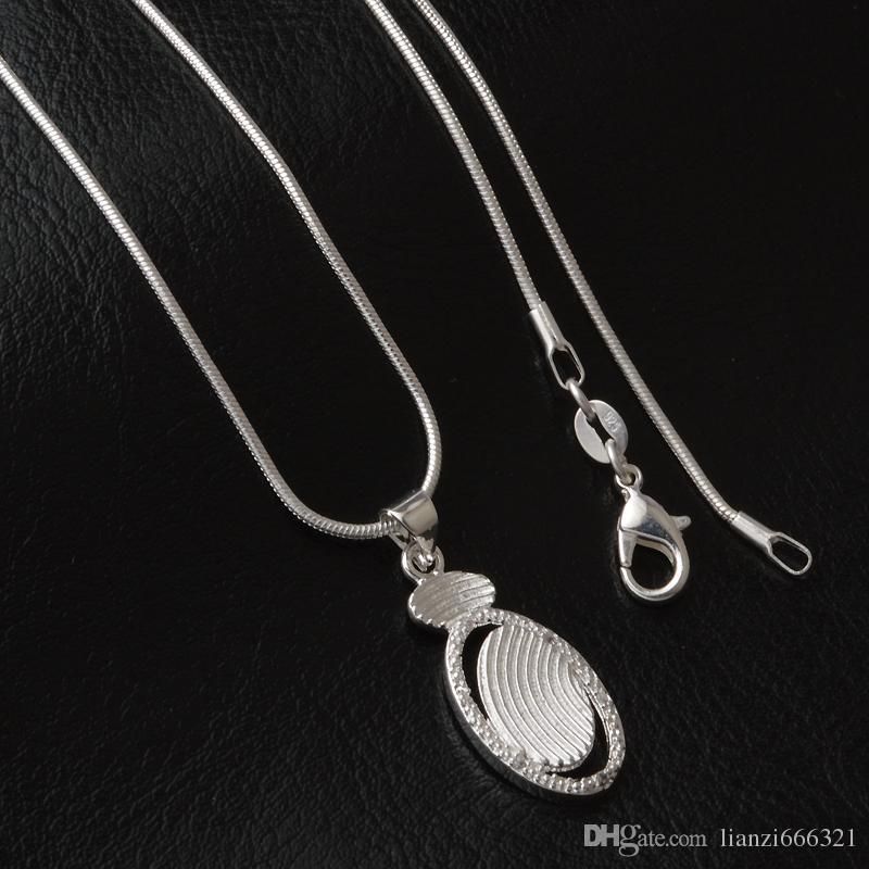 Envío gratis de moda de alta calidad 925 de plata Zircon crystal diamond jewelry 925 collar de plata del día de San Valentín regalos de vacaciones caliente 1639