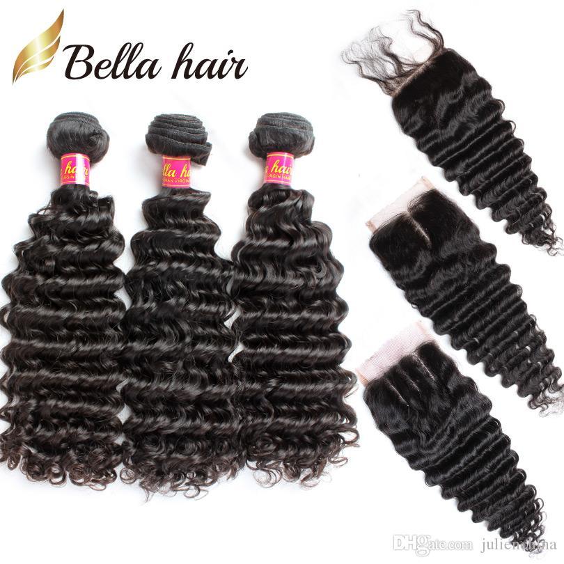 7a deep wave hair bundles with closure
