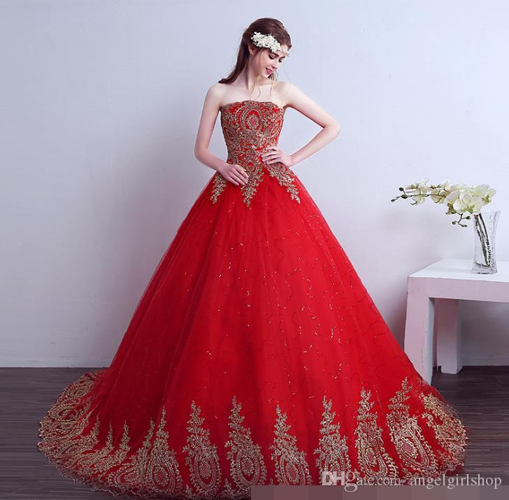 Luxury wedding dress 2017 Vintage Lace Red Wedding Dresses Long Train Plus Size Ball Gown Robe de Mariee Cheap