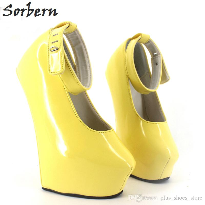 3329a5530c0 Sorbern 2017 20cm High Heels Women Exotic Fetish Wedge Ballet Boots Patent  Leather Padlocks Pointed Toe Party Pumps Woman Platform Shoes White Shoes  ...