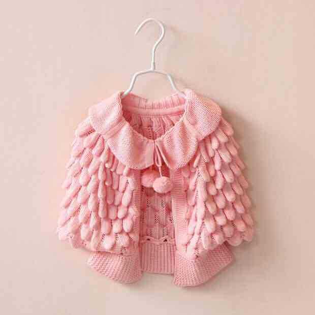aef30a297 2016 Kids Girls Knit Puff Cardigan Baby Girl Batwing Poncho Babies ...