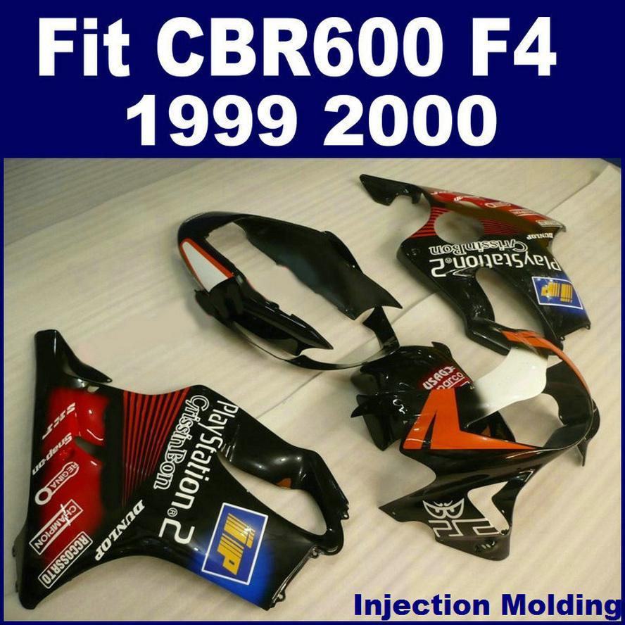 100% Enjeksiyon kalıplama parçaları HONDA CBR 600 F4 1999 için tam kaporta kiti 2000 kırmızı siyah 99 00 CBR600 F4 bodykit NHYJ