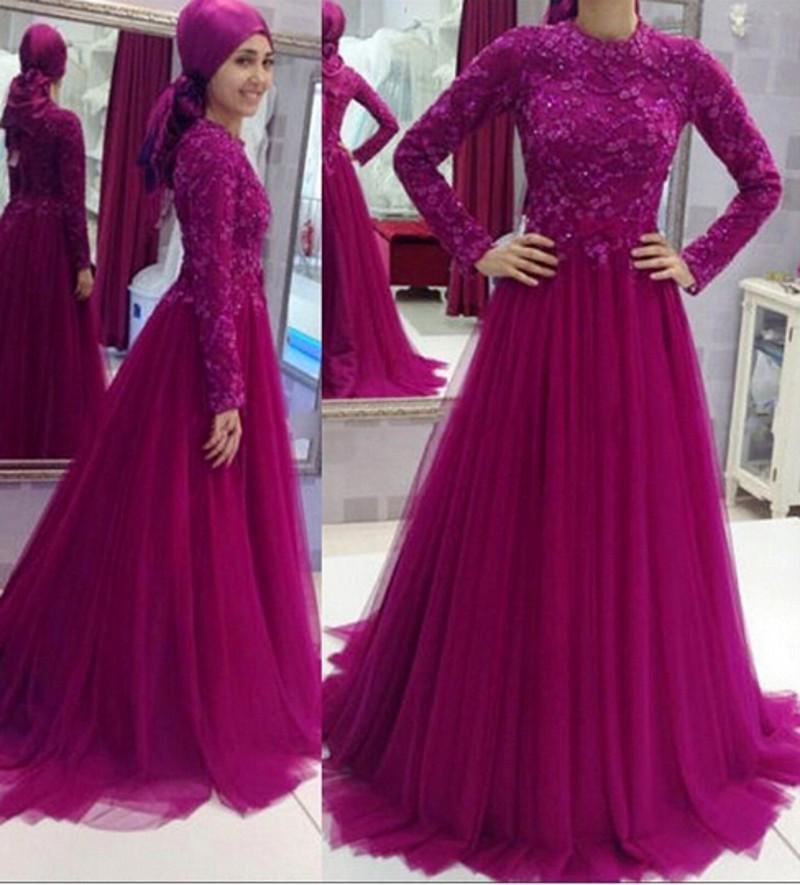 2017 Muslim Islamic Lace Long Prom Dresses Appliques Crew Neck ...