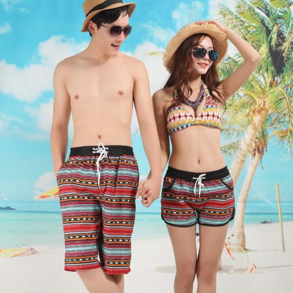 W1023 New Lovers Couple Short Womens Mens Beach Surf Board Swim ... 42b619482