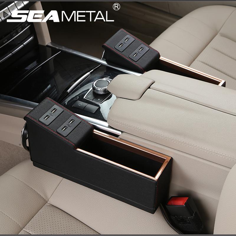 Car Seat Box Crevice Storage Organizer Usb Charge Multi Function Pu ...
