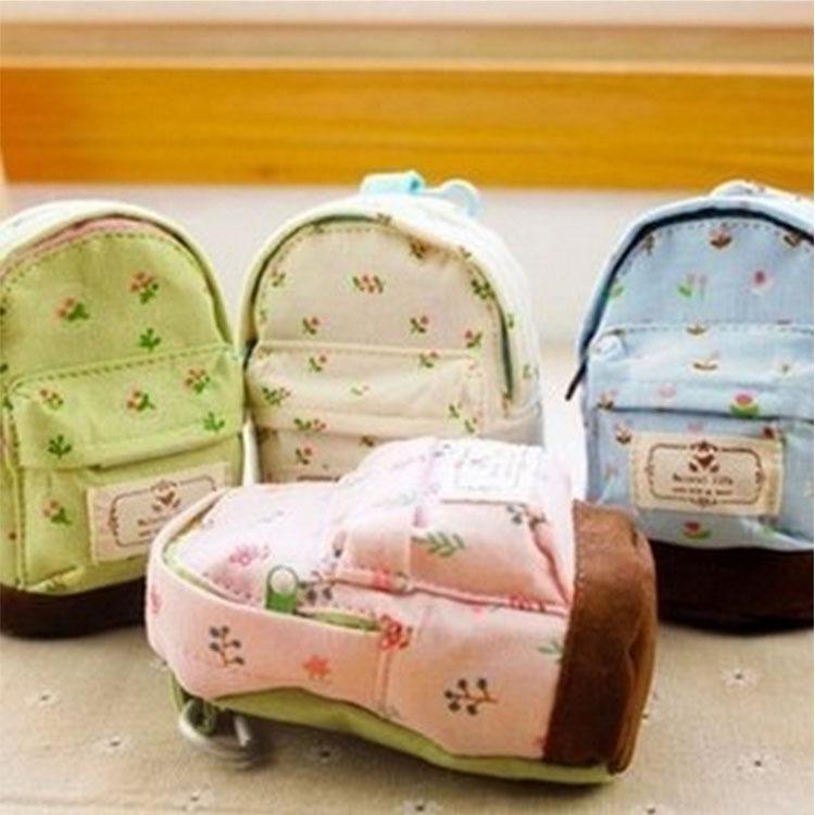 Bonito Coin Bolsas kawaii lona de tecido mini Fresco floral mochila Mori Meninas crianças moeda bolsa mudar bolsas de embreagem sacos de Moda Mini bolsa Bolsa