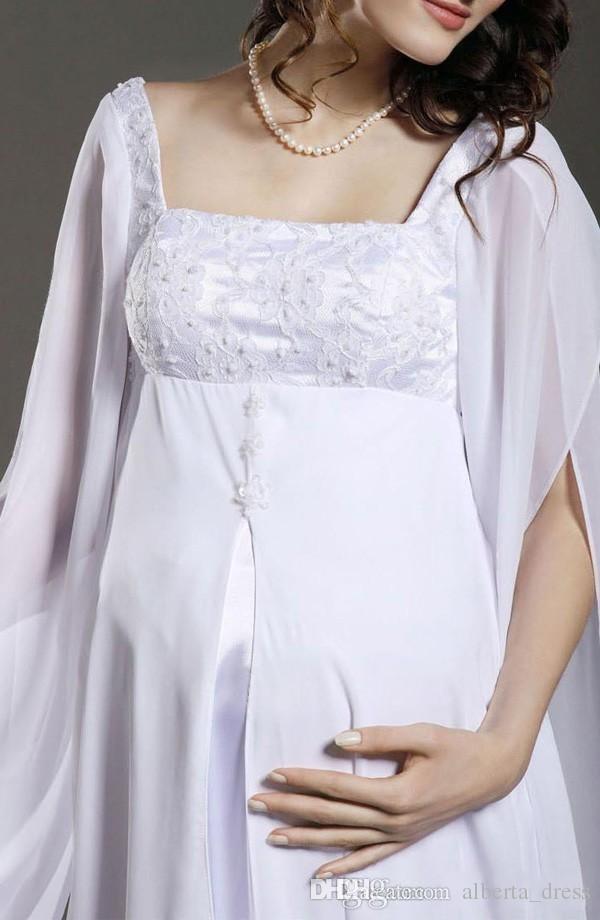 Chiffon Maternity A-Line Wedding Dresses Empire Waist Floor Length White Chiffon Appliques Long Sleeve Plus Size Maternity Bridal Gowns