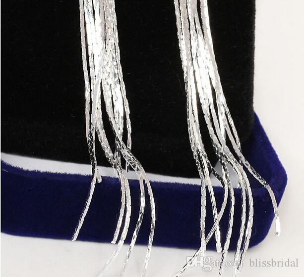 Bijoux modernes Cristaux Femmes Boucle D'oreille Strass Long Eté Glands Argent Accessoires De Mariage Parti Formelle Brillant Drop Dangle Boucles D'oreilles