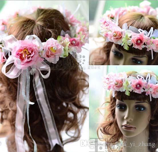 Akcesoria ślubne 2015 włosy kwiaty 3d ręcznie wykonane kwiaty różowe sztuczne kwiaty akcesoria do włosów Dhyz 01