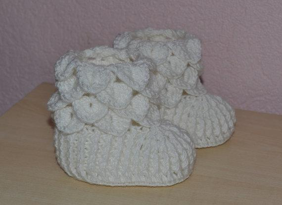 Großhandel Crocodile Stitch Baby Booties Weiß Crochet Booties