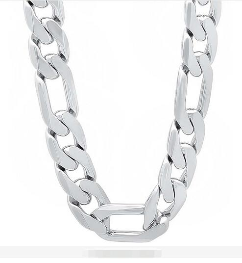 """HOT SALE 925 sterling silver 12MM MEN Figaro CHAIN NECKLACE Length:20"""",22"""",24"""",26"""" 925 silver chain necklace JEWELRY"""