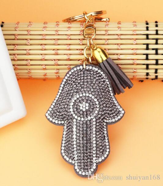 Antik Gümüş Hamsa Fatima El Rhinestone Charms Palm Anahtarlık Moda Araba Anahtarlık Aksesuarları Için Noel Hediyesi Aksesuarları