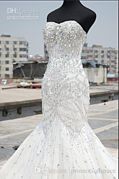 2019 Lüks Kristal Gelinlik Mermaid Sweetheart Kat Uzunluk Yapay elmas Korse Artı Size Gelin Modelleri Custom Made BO7819