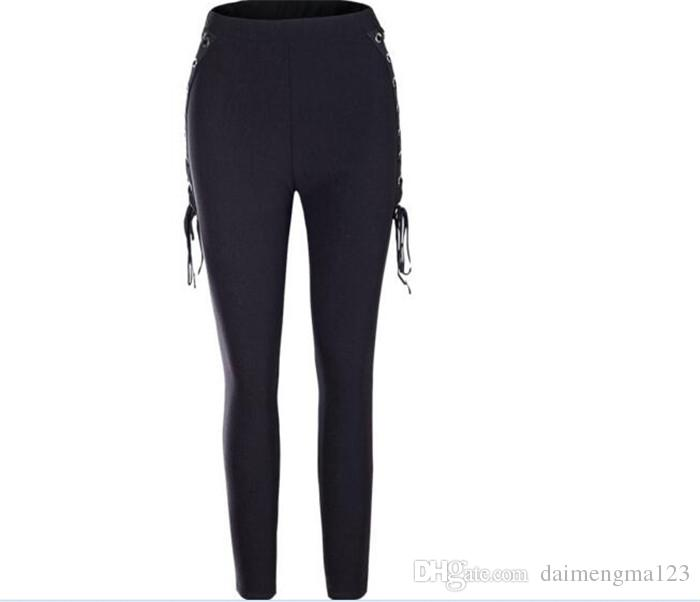 Womens Casual High Waist Thick Slim Skinny Stretchy Long Pants Lace up Pencil Pants Ladies Black Leggings Jeggings Trousers M108